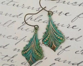 Turquoise Green Earrings Patina Filigree Earrings Dangle Boho Earrings Bohemian Earrings Jewelry Drop Earrings Jewelry