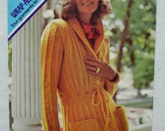 Vintage 1970s Sweater Knitting Instructions, Wrap, Pullover, Columbia Minerva, 1973