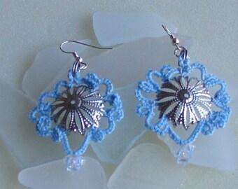Tatted Blue Earrings