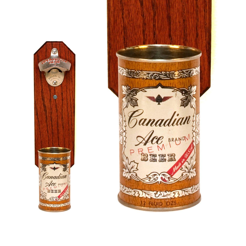 wall mounted bottle opener with vintage canadian ace by handysam. Black Bedroom Furniture Sets. Home Design Ideas