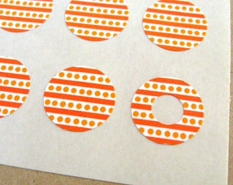 Orange Stripes & Polka Dots - Trendy Page Dots - Circle Reinforcements - Labels, Stickers - Hole Reinforcements - Fall, Autumn