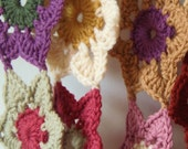 RESERVED for Sheila***Vintage Colours Crochet Flower Scarf***RESERVED for Sheila