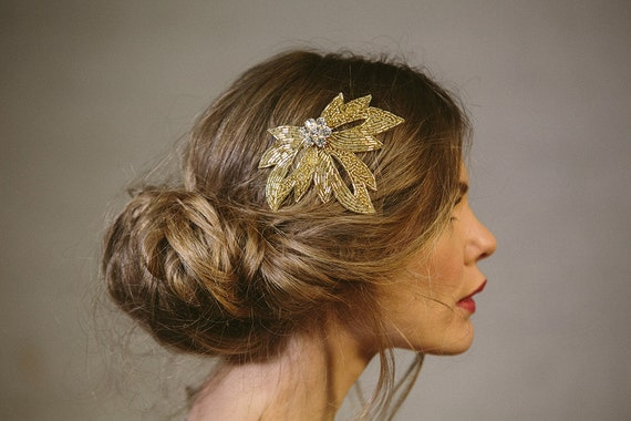 Wedding hair comb - silver or gold beaded bridal vintage style leaf comb 'Olivia'