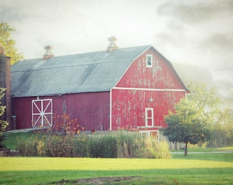 Red Barn Photograph, rustic barn decor, country barn photography, country landscape photo 8x12