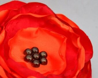 Fabric Flower Brooch - Handmade Flower Brooch -Orange and Red