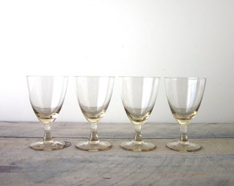 Crystal Stemmed Cocktail Glasses Set of Four with Light Gold Coloring
