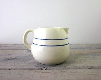 Farmhouse Pitcher Creamy Pale Yellow with Blue Stripes
