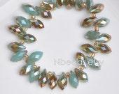 95pcs Crystal Teardrop Faceted Glass beads 6x12mm Opal Blue Copper Briolette- (#HS0640)