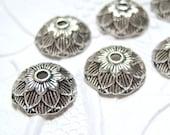 6 - Antiqued silver 12mm acorn bead caps - MH48