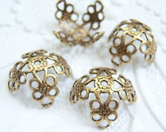 4 - Antiqued brass 15mm filigree bead caps - BD135