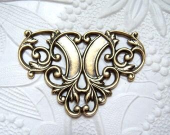 Antiqued brass Victorian style triangular connector -TJ100
