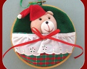 Country Christmas Tree Ornament. Christmas Bear Ornament. Santa Bear. Teddy Bear Ornament Felt Ornament Felt Christmas Decor Tree Decoration