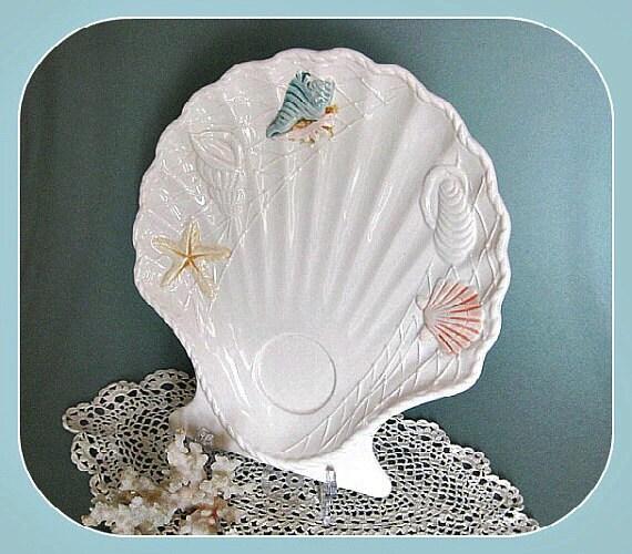 Shell Dish, Shell Tray, Ceramic Tray Trinket Dish Soap Dish Decorative Dish White Tray White Ceramic Dish Bathroom Décor Beach Cottage Décor