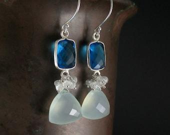 Aqua Chalcedony Cluster Earrings, Sapphire Blue Quartz Bezel, Mystic Quartz, Sterling Silver Wire Wrapped Blue Gemstone Dangle Earrings