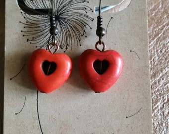 Earrings, Stone,  Heart, Orange