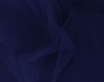"Net Bridal Illusion Tulle NAVY BLUE ~ 1 Yard Cut ~ 36"" x 54""  ~ CL1NTU  ~ 100% Nylon ~ 54"" wide"