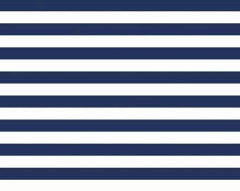 "Navy and White Stripe  ~ 1/2"" Stripes ~ Cotton / Spandex Knit Fabric ~ 1/2 yard ~ 18"" x 58"" ~ from Riley Blake K530-131"