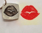 Double sided Groom, Boyfriend or Husband Gift, Deployment Gift - Silver Key Chain Made form your actual kiss print