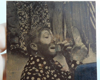 Vintage Circus Clown Putting on Costume Make Up Photograph on Copper Metal