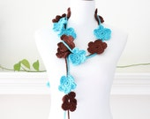 Crochet Turquoise and Brown Lariat  Necklace, Scarf, Scarflette - set of 2