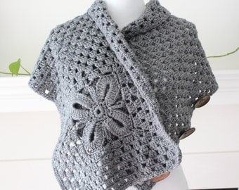 Crocheted Gray Color Scarf, Shawl, Poncho
