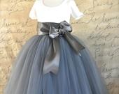 Grey Flower Girl tutu with satin bow sash waist. Your choice of sash ribbon colors. Flower clip option