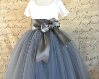 Grey Flower Girl tutu with satin bow sash waist. Your choice of sash ribbon colors. Flower clip option