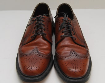 mens 1970s Stafford brown leather wingtop oxford shoes
