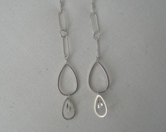 Vintage Silver Plated Modernistic Chain Dangle Earrings