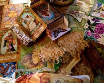 Chrysalis Tarot Deck - Satin Drawstring Pouch and Chrysalis Greeting Card
