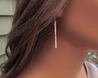 Gold Bar Earrings, Hammered Bar Earrings, 14kt Gold Filled Bar Earrings, Long Bar Earrings, Long Dangle Earrings, Lightweight, Hammered Gold