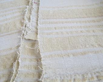 Antique 1800s Homespun Striped Linen Wool Fabric 22.5x91 linsey woolsey