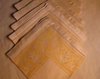 """Vintage Linen Damask Napkins - Set of 5 - Dinner - 15"""""""