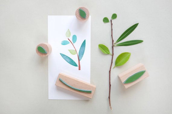 Rubber Stamp Set: Branch with three different leaves