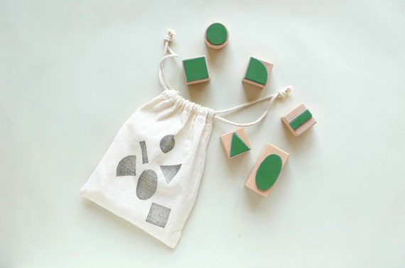 Rubber Stamp Set: I love Geometry – six geometric forms in a bag