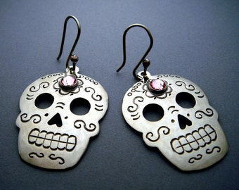 Silver Mexican Day of the Dead Sugar Skull Earrings with Pink Swarovski Crystals
