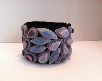 Ladies Jewelry mosaic Boho wool felt cuff bracelet Chicago wearable art