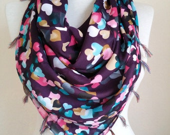 cotton scarf - square scarf - turkish scarves - scarf fashion - hearts scarf - scarf accessories - scarf sale