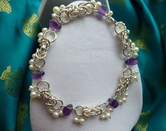 Byzantine Bracelet with Amethyst and Pearl