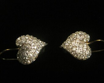 Rhinestone Heart Earrings Vintage Gold Tone 925 Silver Gold Plate Rhinestones Fake Hearts Diamonds Diamond