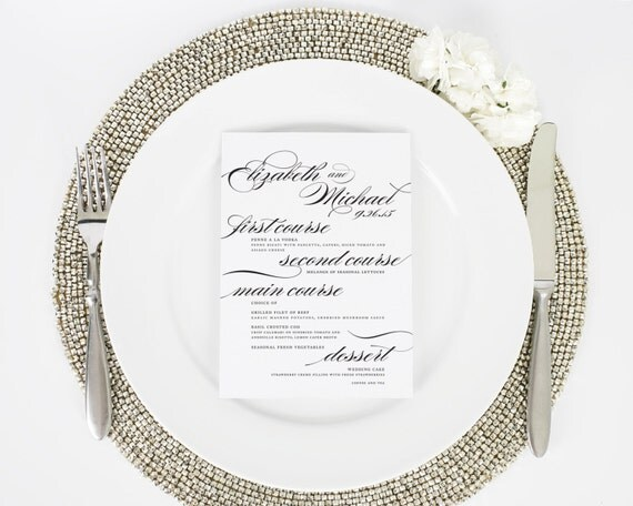 Wedding Menu for your Reception - Marriage Design A - Deposit
