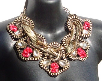 Red Turquoise Bib Necklace by Ashlee Collection
