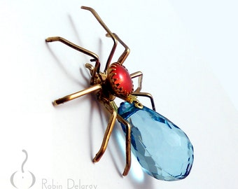 Victorian Steampunk SPIDER Tack Pin Tie Tac ArachneMachina Vintage Aqua Blue Acrylic Drop Orange Sabrina Rhinestone Pin0095 by Robin Delargy