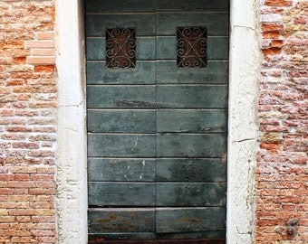 Fine Art photography, old green wooden door, weather worn with water and reflection, brick, Venice, Italy, 8x12 shown, 8x10 available