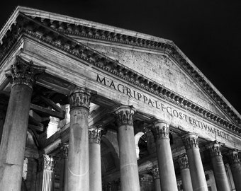 Fine Art photography, Night at the Pantheon, Rome, Italy, black and white, 8x12