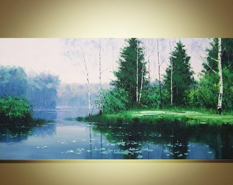 """Original Oil Painting  Modern Palette Knife Landscape  fine art on Canvas silent lake Ready to Hang  by Qujun  48"""" by 24"""""""