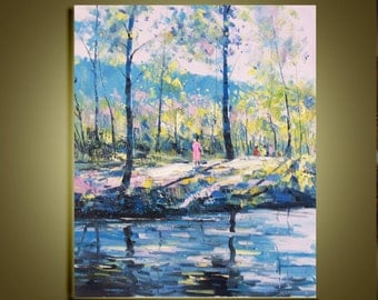 "Original Modern Palette Knife landscape wall decor Oil Painting on Canvas Walking in the forest Ready to Hang by Qujun 20"" by 24"""