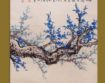 Cherry blossom painting Original painting chinese art oriental art-Lovely cherry blossom tree No.55