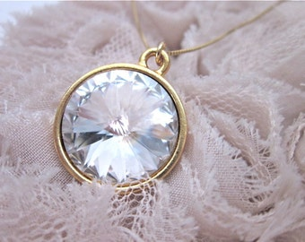 Clear Necklace -- Crystal & Gold Necklace -- Crystal Clear Pendant Necklace -- Clear Crystal Swarovski Necklace -- Crystal Rivoli Necklace