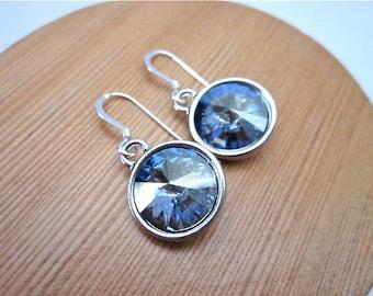 Light Blue Crystal Earrings -- Soft Blue Earrings -- Blue Shade Swarovski Crystal Earrings -- Light Blue Earrings